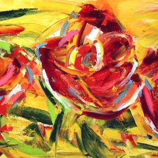 Art: Three Red Roses by Artist Laurie Justus Pace