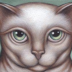 Art: Kitty Green Eyes by Artist Valerie Jeanne