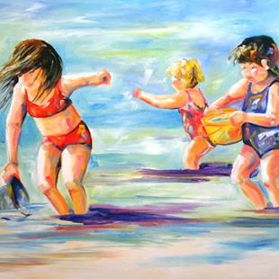 Art: Three Sisters at the Beach by Artist Laurie Justus Pace