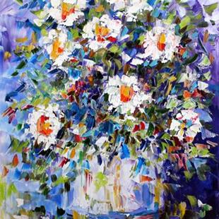Art: White Flowers on blue by Artist Laurie Justus Pace