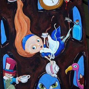 Art: Alice down the rabbit hole by Artist Noelle Hunt