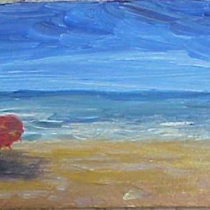 Art: Left Red Beach Umbrella SOLD by Artist Terri L West