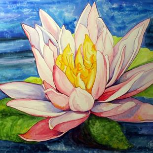 Art: Water Lily Cool Evening by Artist Laurie Justus Pace