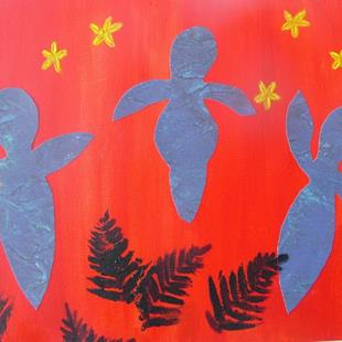 Art: Dancing Goddesses (after Matisse) by Artist Donna Gill