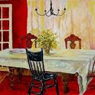 Art: Red Dining Room - SOLD by Artist Diane Millsap