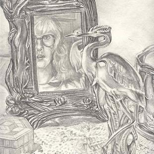 Art: Self-Portrait with Heron by Artist Madeline  Carol Matz