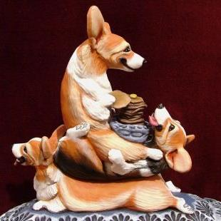 Art: A Short Stack of Corgi's Enjoy a Tall Stack of Pancakes! by Artist Camille Meeker Turner