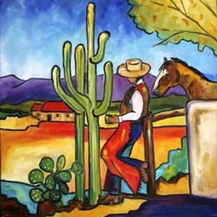 Art: Morning Coffee in Santa Fe by Artist Laurie Justus Pace