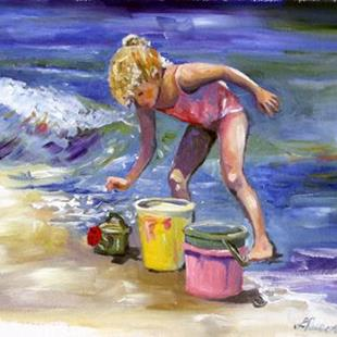 Art: Ontario Beach Study of a Child by Artist Laurie Justus Pace