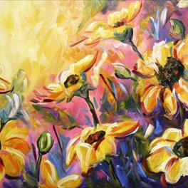 Art: Heat of the Sunflowers by Artist Laurie Justus Pace