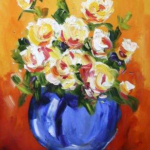 Art: Blue Vase with White Roses by Artist Laurie Justus Pace