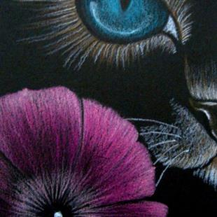 Art: Cat Behind the Petunia Flower EBSQ Show AWARD WINNER by Artist Cyra R. Cancel