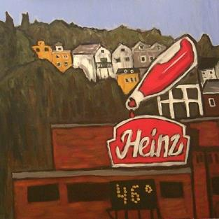 Art: Heinz Plant from 16th Street Bridge, Pittsburgh PA by Artist Amie R Gillingham