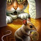 Art: Cat and Mouse by Artist John Thompson