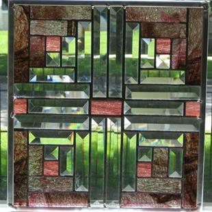 Art: Stained Beveled Glass Log Cabin Quilt Block by Artist Phil Petersen