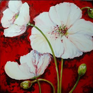 Art: WHITE POPPY RED by Artist Marcia Baldwin