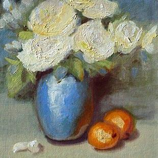 Art: Roses and Apricots by Artist Debra Schott