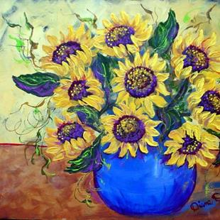 Art: Nine Sunflowers by Artist Diane Funderburg Deam