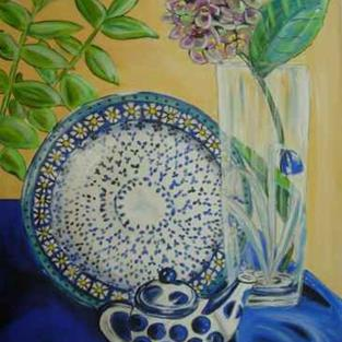 Art: Ode to Polish Pottery VII by Artist Heather Sims