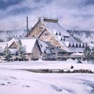 Art: Old Faithful Inn with Bison by Artist Lynn Bickerton Chan