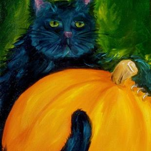Art: Pumpkin Kitty by Artist Deborah Sprague