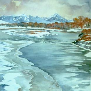 Art: Emigrant Peak from Carter's Bridge by Artist Lynn Bickerton Chan