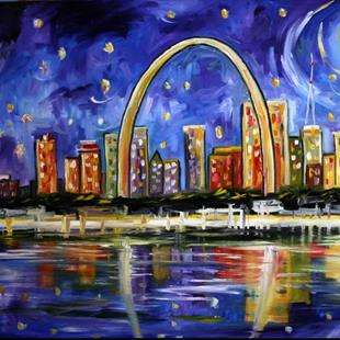 Art: Moon over St Louis by Artist Laurie Justus Pace