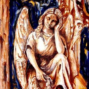 Art: Angel in Thought - SOLD by Artist Diane Millsap