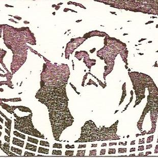 Art: Basket Full of Puppies by Artist Deborah Sprague