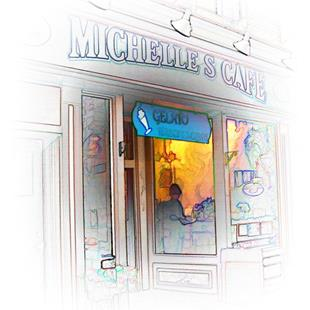 Art: Michelle's Cafe by Artist Carolyn Schiffhouer