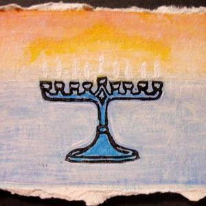 Art: Tiny Menorah by Artist Melissa Morton