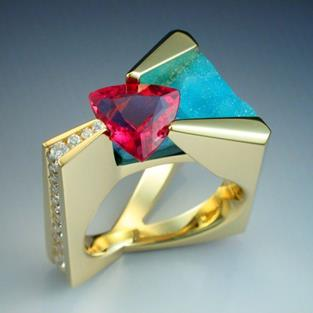 Art: 18k Pink Tourmaline, diamond and chrysocolla ring by Artist John Biagiotti