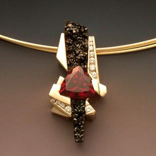 Art: Pendant with Garnet and Diamonds by Artist John Biagiotti
