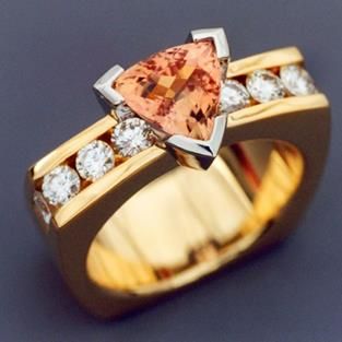 Art: Imperial Topaz and Diamond ring by Artist John Biagiotti