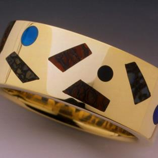 Art: Mulit-inlay mans ring by Artist John Biagiotti