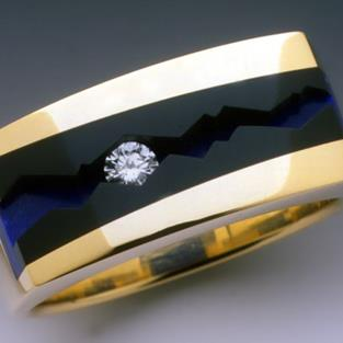 Art: Diamond, Black Jade and Lapis mans ring by Artist John Biagiotti
