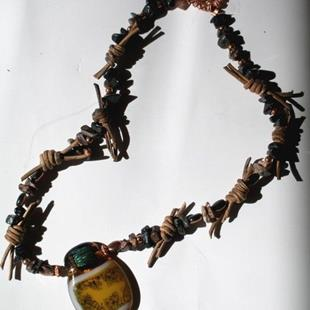 Art: Cowboy/girl Necklace by Artist Deborah Sprague