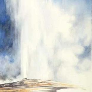 Art: Watching Old Faithful by Artist Lynn Bickerton Chan