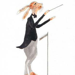 Art: HARE CONDUCTOR by Artist Dawn Barker