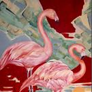 Art: Pink Flamingos by Artist Diane Millsap