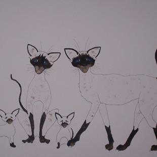 Art: SIAMESE CATS by Artist Dawn Barker