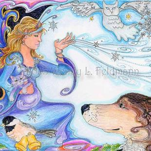 Art: Bosco and the Yule Faerie by Artist Wendy L Feldmann