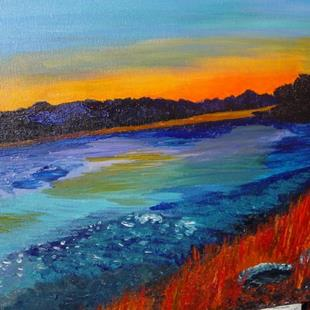 Art: Autumn at The River by Artist Donna Gill