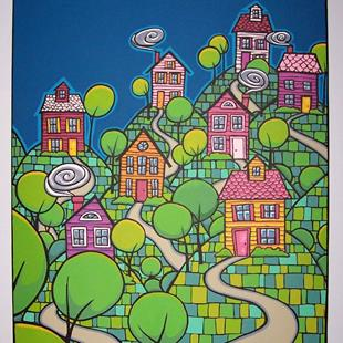 Art: Hill Town Houses by Artist Cary Dunlap Daly