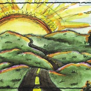 Art: Sunset on Route 66 ACEO - SOLD - by Artist Ann Murray
