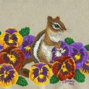 Art: Chippy in the Garden (SOLD) by Artist Jackie K. Hixon