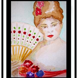 Art: Lady with Hand-Held Fan by Artist Cyra R. Cancel
