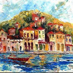 Art: Mediterranean Fishing Village by Artist Diane Millsap