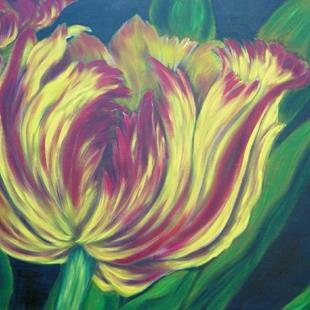 Art: Tulip in Yellow and Crimson by Artist Tracey Allyn Greene