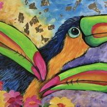 Art: THREE TOUCANS 12X24 sold by Artist Ke Robinson